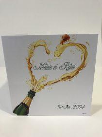 Nos faire part de mariage motif bouteille de Champagne et coeur