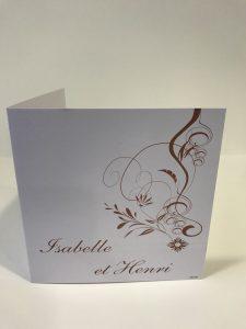 Faire Part de mariage motif fleurs et courbes personnalisable